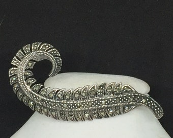 Sterling Marcasite Feather Brooch