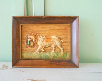 Vintage DOG Wooden Picture....housewares. dog lover. retro. vintage dog. puppy. kitsch. 70s home. vintage home. picture. art. puppy love.