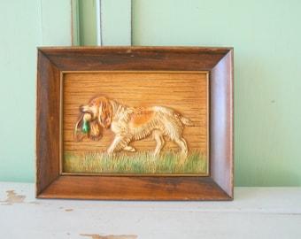 Vintage DOG Wooden Picture....housewares. dog lover. retro. vintage dog. puppy. kitsch. 70s home. vintage home. picture. art. puppy love.