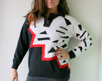 1980s CHECKERED Crop Sweater...size small womens...kitsch. top. 80s clothing. 1990s. hipster. urban. glam. nautical. preppy. red white black