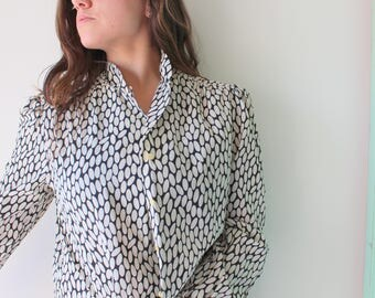 Vintage SILK POLKA DOTS Blouse..womens. black and white. mod. urban. blouse. womens. ladies. mad men. vintage blouse. flowy top. soho. fancy