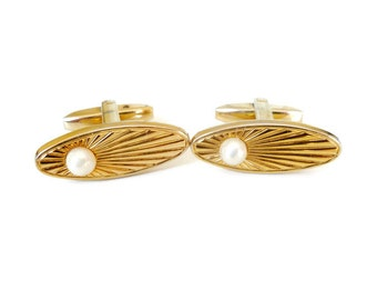 "Art Deco ""Foster"" Pearl Vintage Cuff Links"