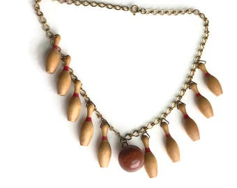 Vintage 1940s Bowling Necklace Wooden Pins and Bowling Brass Necklace