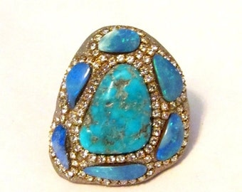 HOLIDAY SALE Turquoise and multi Opal shell doublets Sterling silver ring