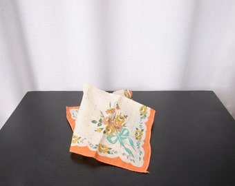 Sweet Little Orange Floral Handkerchief, 1940's, 1950's  Vintage Hanky