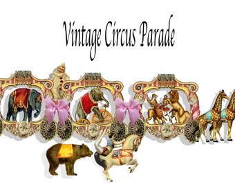 printable Vintage circus carnival wagons collage sheets both backs and fronts craft project scrapbook sheets