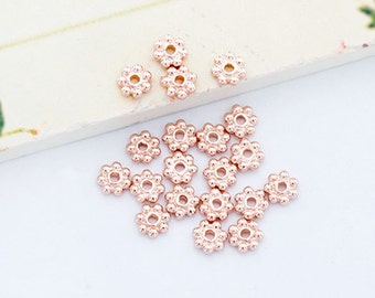 20 of Sterling Silver  Rose Vermeil Style Daisy Spacer Beads 4mm.  :pg0283