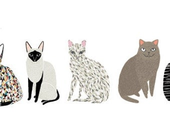 GINGIBER CATS Eco-Friendly Reusable Fabric Wall Decals by Pop & Lolli