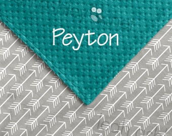 Baby Blanket - Gray Arrows Minky, Teal Minky Dot - BB1