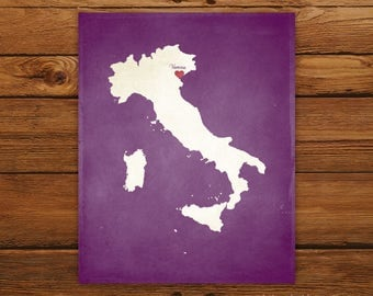 Customized Printable Italy Country Map Art - DIGITAL FILE - Aged-Look Canvas Wall Art Print