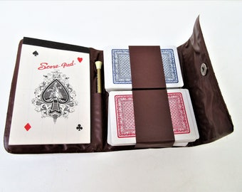 Vintage Card Game | Travel Game | Playing Card Holder | Bridge Cards | Score Pad | Vinyl Pouch