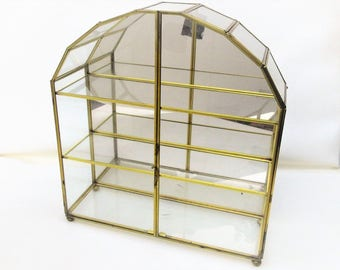 Vintage Brass Glass Display Case | Curio Cabinet | Mirrored Chest | Large Glass Cabinet | Glass Terrarium