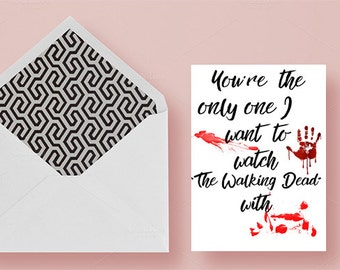 Walking Dead Anniversary card, Funny Anniversary card, Printable Walking Dead Card, Valentines day card, Love card