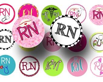 RN bottlecap images - Nurses week - RN 1 inch circles digital collage sheet - Badge reels - Magnets - Keychains - Printable - Craft supply