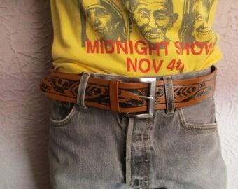 Vintage Native American Design Tooled Leather Belt med.