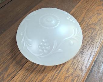 Frosted Glass Light Shade / Ceiling Light Globe / Vintage Glass Shade / Grape and Vine Design Light Shade / Vintage Frosted Light Globe