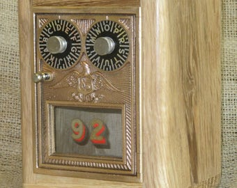 Post Office Door Bank No 92 - Salvaged Old Growth Oak  - Double Dial Eagle - 1930 -54  FREE SHIPPING