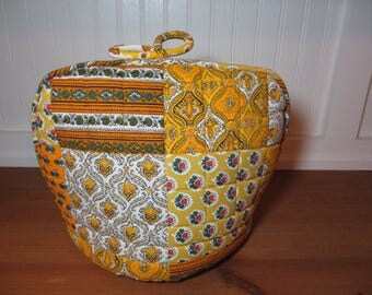 Bright Yellow Tea Cozy, Made in France, Patchwork Pattern Fabric