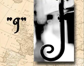 Letter J Alphabet Photography Black and White or Sepia 4 x 6 Photo Letter Unframed