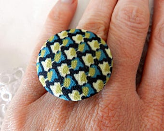 Vintage Graphic Cloth Adjustable Ring