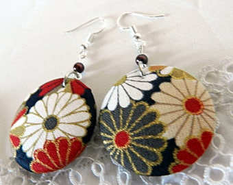 Earrings in Japanese Flower Cloth
