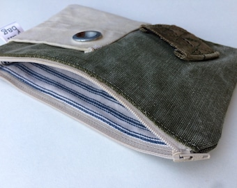 PATCH - reconstructed vintage army duffle bag small pouch