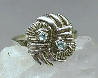 Beryl ring, sterling silver ring, green aquamarine ring, size 9 ring, fine silver ring, pmc jewelry, blue green beryl, genuine beryl jewelry