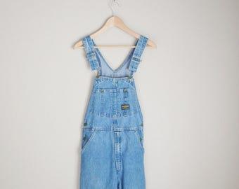 vintage 80s osh kosh medium wash denim jean carpenter overalls -- 30x31-- womens small