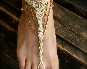 ethnic bridal barefoot sandles, macrame anklet, macrame jewelry, beach wedding, boho foot jewelry, hippie sandals, toe ring,  tribal sandal