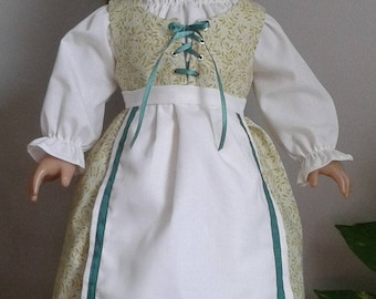 Renaissance Day Dress with Headpiece for 18 Inch or American Girl Doll