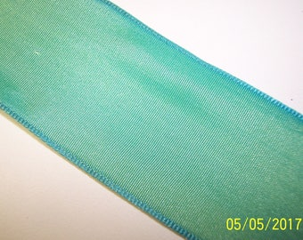 Green and Blue Melted Wire Edge Ribbon 3 Yards