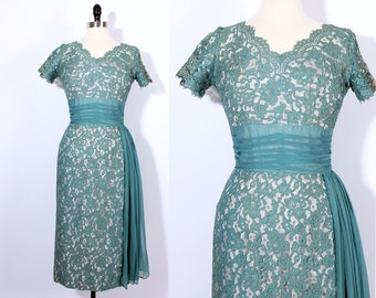 vintage 1960s 60s Sage and Pink LACE dress/ chantilly lace sheath dress/ lace overlay dress/ Chiffon/ pink green teal
