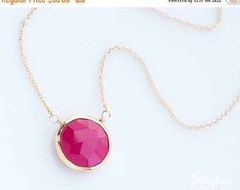 40 OFF - Fuchsia Pink Necklace - Hot Pink Stone Necklace - Layering Necklace - bezel set necklace - gemstone necklace - Gold necklace