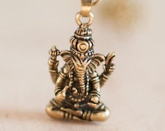 40 OFF - Brass Ganesha Pendant on a Brass Chain Necklace - Hindu God - Statement Necklace - Layering Necklace  Bohemian Boho Hippie Chic