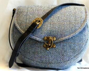 Harris Tweed Saddle Bag in Blue Herringbone