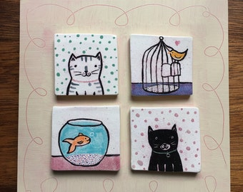 Cats and Bird and Goldfish and Dots Sweet Ceramic Wall Tiles mounted on Board Wall Hanging