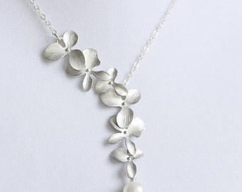Elongated Silver Orchid Flower Necklace with White Freshwater Pearl, Sterling Silver Chain, Wedding Necklace, Gift Under 35