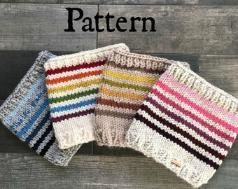 Rainbow Cowl Chunky Knit Pattern. Instant download