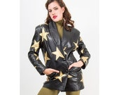 SALE... Vintage leather blazer / Gold stars / 1980s fitted double breasted jacket S M