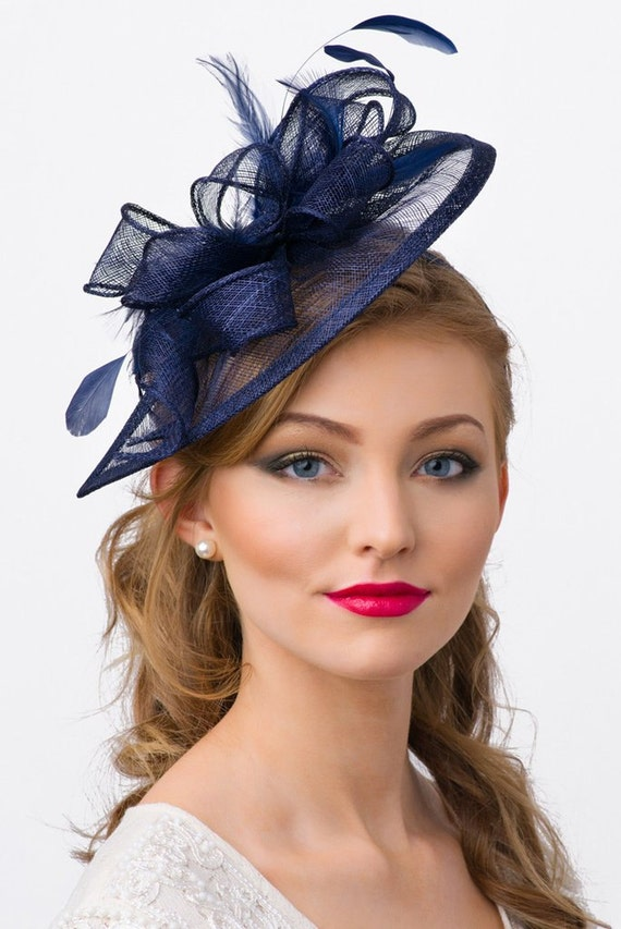 """Navy Blue Fascinator - """"Penny"""" Mesh Hat Fascinator with Mesh Ribbons and Navy Blue Feathers"""