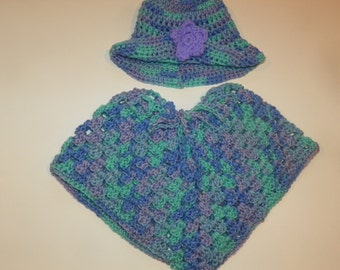 Baby Girl Poncho Sweater Hat set Just Adorable Perfect for a  Gift Sizes3M-24M Hand Crochet