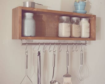 Chloe Rustic Farmhouse Industrial Cubby Shelf with Utensil Holder / Pot Rack