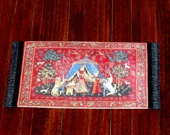 The Lady and the Unicorn Rug, Medieval Dollhouse Miniature, 1/24 Scale Size, Hand Made