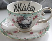 Gin / Vodka / Wine / Whiskey Tea Cup and Saucer, Different Fonts / Colors / Cups Available, Floral Rose, Liquor Teacup, Personalized Cup