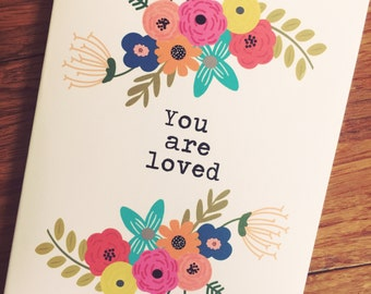 You are loved - a set pf 8 inspirational notecards and evelopes