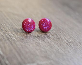 Glitter earrings 12mm studs polymer clay and resin raspberry