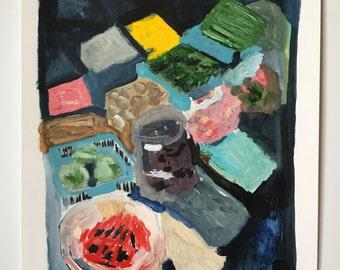 Abstract painting // Pluto no. 2 // original painting // illustration on paper // original art // still-life painting