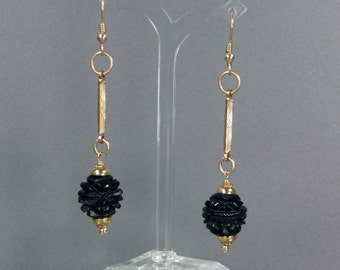 Whitby Jet Earrings, Carved Beads, Genuine Antique Jet, Carved Flower, Victorian, Edwardian, Dangle Earrings