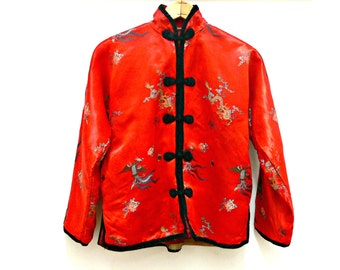 Red Satin Embroidered Brocade Jacket - Vintage Chinese - Padded Embroidered - Size Small