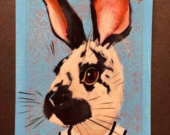 Rabbit portrait on a playing cards. 2017